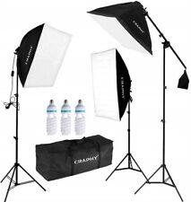 "CRAPHY Photo Studio Soft Box Continuous Lighting Kit 3x135W 5000K Bulbs + 20""x25"