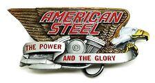 Biker Belt Buckle American Steel V Twin & Eagle Design Bike Motorcycle Authentic