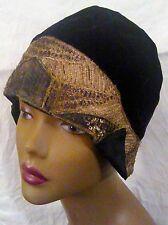 Vintage Women 1920s Black Velvet Cloche Hat Gold Metallic Art Deco Stitching