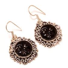 Carved Bone Black Face silver plated Handmade Designer Carving Charm Earrings