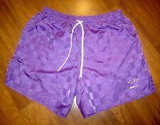 Vtg 80s 90s UMBRO Purple Checkered Soccer MEDIUM nylon running retro shorts M