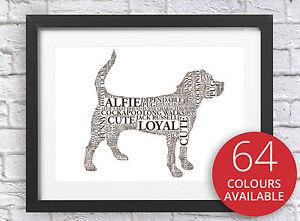 Personalised Dog Word Art Print Birthday Christmas Present Memorial Keepsake Pet