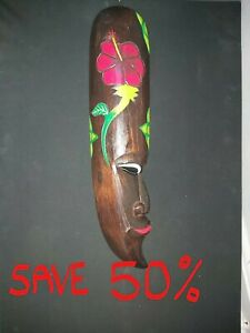 LARGE HANDMADE DECORATIVE POLYNESIAN STYLE MASK FROM INDONESIA -SAVE 50%
