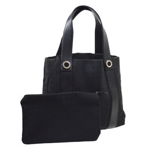 BVLGARI Logos Hand Bag Purse Black Canvas Leather With Pouch APEBER 30380
