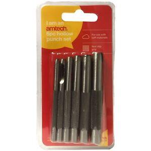 Amtech H1700 6pc Holllow Punch Set 3-8mm Hole Plastic Rubber Vinyl