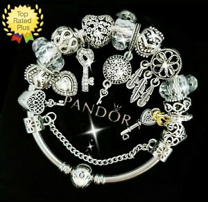 Authentic PANDORA Bracelet Silver with KEY TO MY HEART European Charms New
