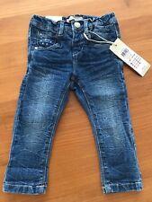 name it Baby Mädchen Jeans mit Glitzer-Blumenstickerei Gr. 80 9-12 M *NEU*