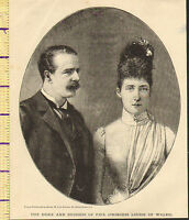 C1860 Vittoriano Stampa ~ Duca e Duchessa Di Fife Principessa Louise Di Galles