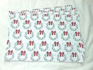 Christmas Holiday Green Red Bow Wreath Shiny Silver Snowflake Set of 4 Placemat