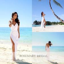 Hot Slit Chiffon Bohemia Beach Wedding Dress White Ivory Bridal Gown Custom Size