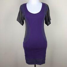 Free People Size Medium Shirt Dress Purple Ribbed Cotton Knit Soft Stretch Boho
