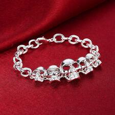 Skull Head Fashion Bracelet Cuff 925 Silver Women Bracelet Bangle Jewelry Gift