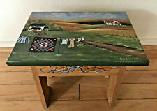 Hand Painted Foot Step Stool with Country Farmhouse Scene by Kelly Backlund '97