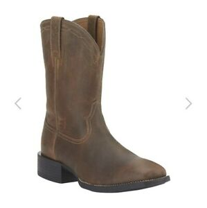 Mens Leather Ariat Heritage Brown Roper Boots ATS Pro US 7.5 W (Wide Fit)