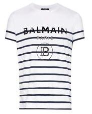 Balmain Striped Cotton T-Shirt With Black Balmain Logo