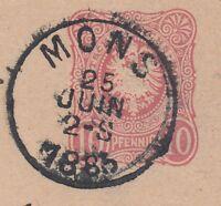 26020) MONS Belgien Stempel 1885 auf DR Antwortkarte nach Ilversgehofen Erfurt