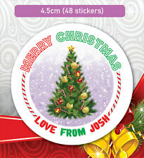 48 Christmas Party Bag Stickers Sweet cone Labels Xmas Tree present Personalised