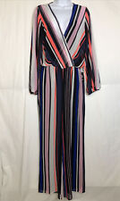 Express Womens Striped Long Sleeve Sheer Jumpsuit Size M NWT