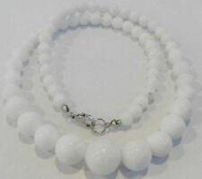 New 6-14mm Natural White Jade Gemstone Round Beads Necklace 18''