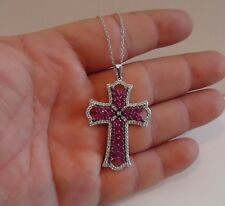 CROSS PENDANT NECKLACE W/ 8 CT LAB DIAMONDS & RUBY GEMS / 925 STERLING SILVER