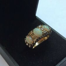 Hallmarked HM 9ct 9k Gold Triple Trio Trilogy Opal Spinel Ring SIze L 1/2