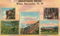 Vintage Postcard 1945 Greetings from White Mountains NH New Hampshire 1 Cent