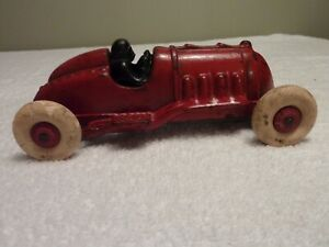 "Hubley Cast Iron Race Car Red Original 6"" 1930's Nice"