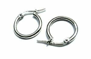 Full Solid New Genuine 9ct 9K White Gold Small Hoop Round Earrings