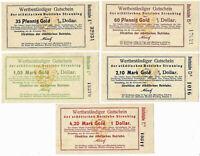 Straubing Lot von 5 Scheinen Notgeld Deutschland Germany