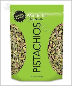 Wonderful Shelled Roasted & Salted Pistachios 24oz Resealable Bag Free Shipping