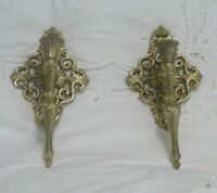 2 Vtg Gold Metal Wall Sconces Candle Holders Hollywood Regency Baroque Rococo