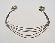 Sweater Chain Collar Clip Dark Rhinestone Flower Clips Very Long Dark Chains