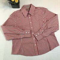 Faconnable Red Light Gray Striped Long Sleeve Button-Down Shirt Size XL