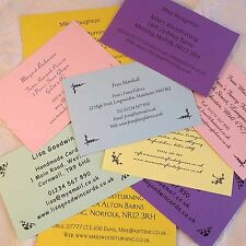 More details for personalised coloured business cards for crafters stall informaion address etc