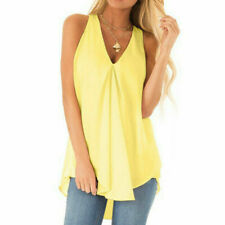 Plus Size Womens Summer Chiffon Sleeveless Camisole Blouse Ladies Vest Tops Tank