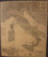 1865circa CARTA ITINERARIA COMMERCIALE DELL'ITALIA Arrigoni Civelli 1,3 x 1,1 m