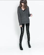 Zara Similpelle combinato Leggings Coscia Alta Stivali Look Taglia M Biker Rock