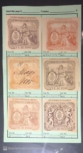 1890's Revenue Stamp Collection Facturas Puerto Rico Mounted on Sales Pages, $$$
