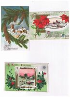 3 DIFFERENT ANTIQUE EMBOSSED CHRISTMAS POSTCARDS-- FREE SHIPPING!
