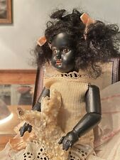 "Antique Black Bisque Doll ~ Very Pretty~ 14"" Cabinet Size"