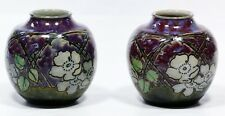 Lot of 2 Royal Doulton Lambeth Natural Floral Stoneware Vases by Bessie Newberry