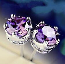 925 Sterling Silver Purple Amethyst Diamond Stud Earrings Asscher Cut [EAR-92]