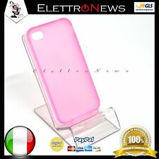 Custodia cover tpu per Iphone 4 - 4s colore rosa con linea laterale bianca