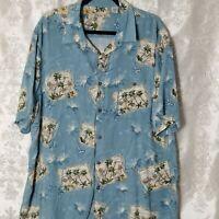 Batik Bay Blue Men's 2XL XXL Button Down Hawaiian Palms Camp Shirt Short Sleeves