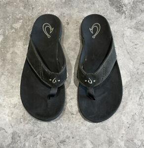 OluKai Men's Nui Leather Flip Flop Sandals Island Salt Size 11 US $85 NEW