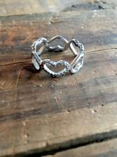 Heart Band Ring Open Heart Design CZ STERLING SILVER 925 Size 7.5