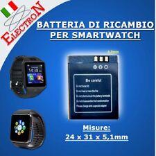 BATTERIA Litio 380mAh 3.7V RICAMBIO SMART WATCH per OROLOGIO V8 DZ09 A1 350mAh