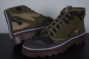 NIB! Mens Valentino Garavani Camouflage Boots sz 45.5 Military Green Canvas Shoe