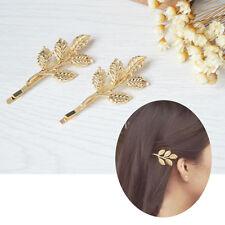 2*Pince à cheveux acier inoxydable forme de branche d'olivier joli beau pratique