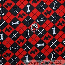 BonEful Fabric FQ Flannel Cotton Quilt Red Black B&W Scottie Dog Plaid Pup Check